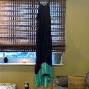 Navy/teal maxi dress